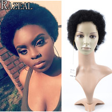 Razeal New Arrival Cheap Short Wigs For Black Women Perruque Synthetic Women Black Wigs Kinky Curly