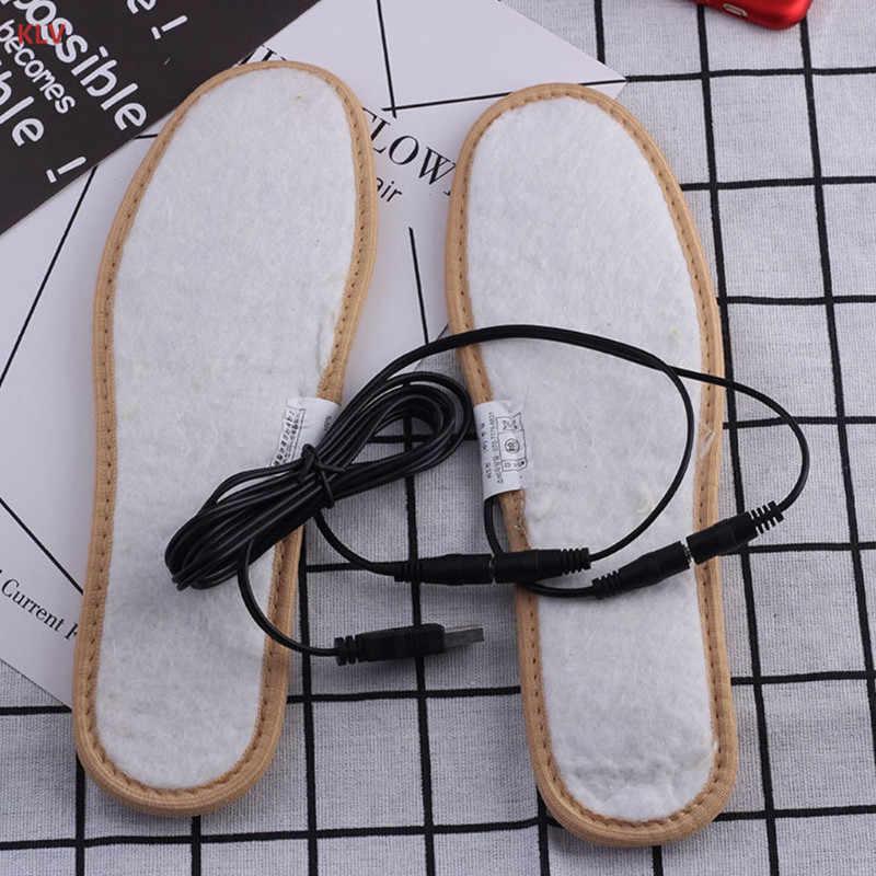 KLV Elektrikli USB Fiş Powered Isıtmalı Ayakkabı Tabanlık Peluş Film Isıtıcı Kış Ayak sıcak tutan çoraplar Pedleri Ayak Kadınlar Erkekler Için