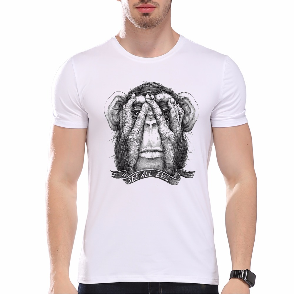 Mustache Animal Monkey Head Hiphop Hipster T shirt Novelty Tops Head Print Short Sleeve Tees ra075