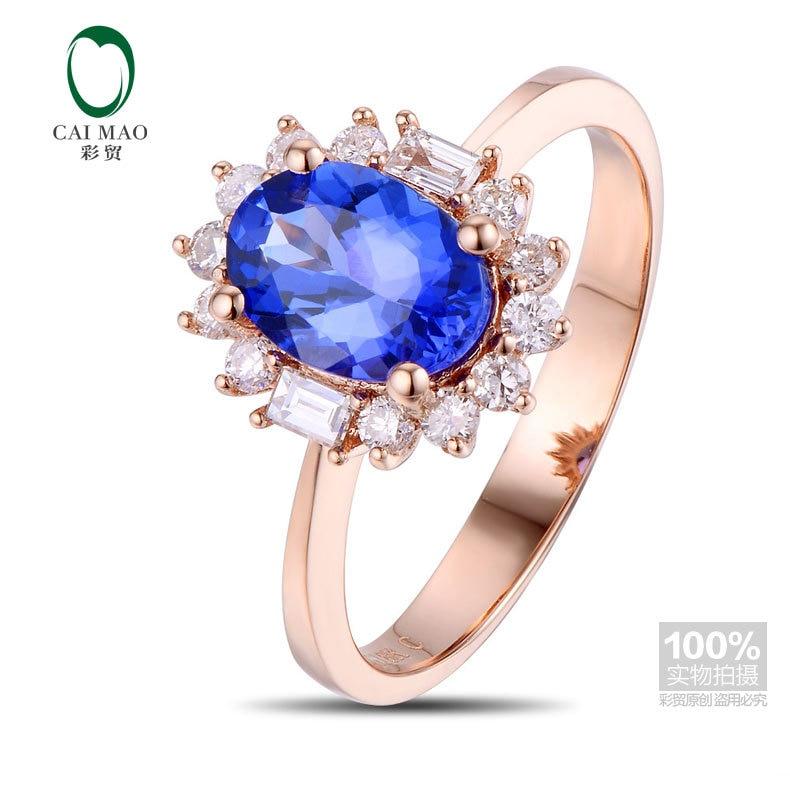 Caimao 18kt/750 1.18ct الذهب 0.30ct الطبيعية إذا الأزرق تنزانيت aaa كامل قص الماس المشاركة gemstone خاتم مجوهرات