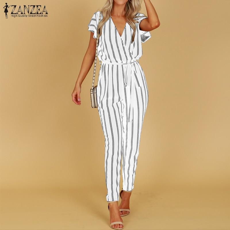 S 5XL ZANZEA 2020 Summer Sexy Deep V Neck Party Jumpsuit Women High Waist Striped Overalls Short Sleeve Long Turnip Bodysuit
