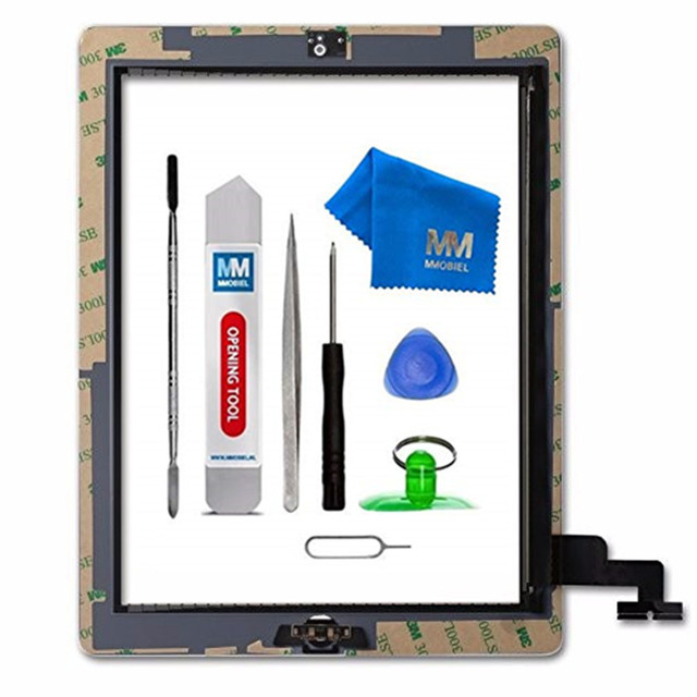 MMOBIEL For IPAD 2 white/black Digitizer Touch Screen Front Display Glass Assembly - Includes Home Button and flex+Camera Holder