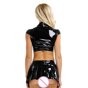 Image 3 - 2Pcs Women Wetlook Patent Leather Lingerie Set for Costume Party Sexy Cap Sleeve Crop Tops with Mini Pleated Skirt and Necktie