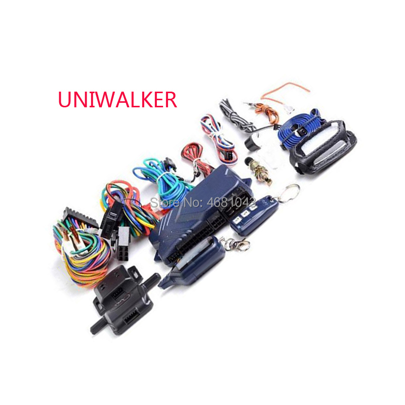 UNIWALKER B9 Russian Version 2 way Car Alarm Anti theft System LCD Keychain Control engine start