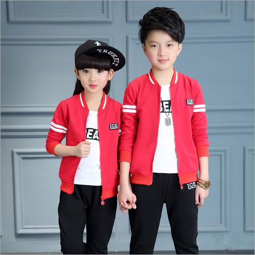 Boys Sports Set Girls Clothing Sets 3pcs Suit Set Teenagers Sports Suit School Kids Suit Sets Boys Jackets & Pants & T-shirt