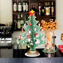 1 pcs Wooden Mini Table Christmas Tree With Ornaments Xmas gifts desktop 30*20cm Xmas Tree for Christmas/Xmas Decoration
