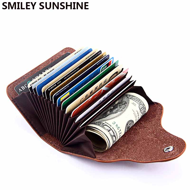 Genuine Leather Business Card Holder Men Bank ID Credit Card Holders Wallet Women Organizer cardholder Card Case pasjes houder 2018 pu leather unisex business card holder wallet bank credit card case id holders women cardholder porte carte card case