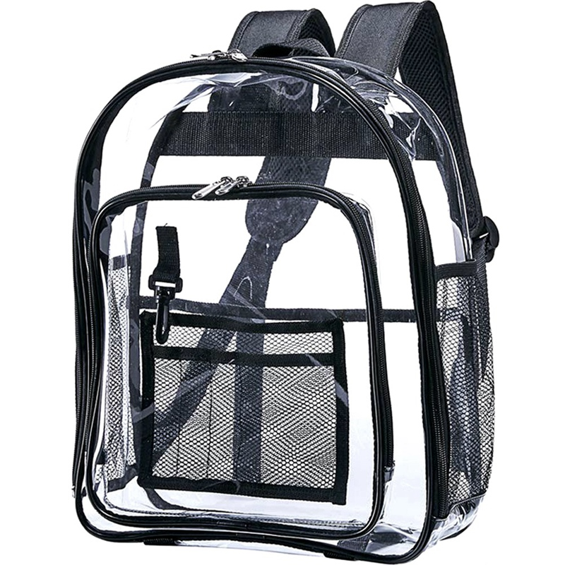 Heavy Duty Clear Backpack,Security Transparent School Backpack,See Through Bookbag For Work, Security Check And Travel