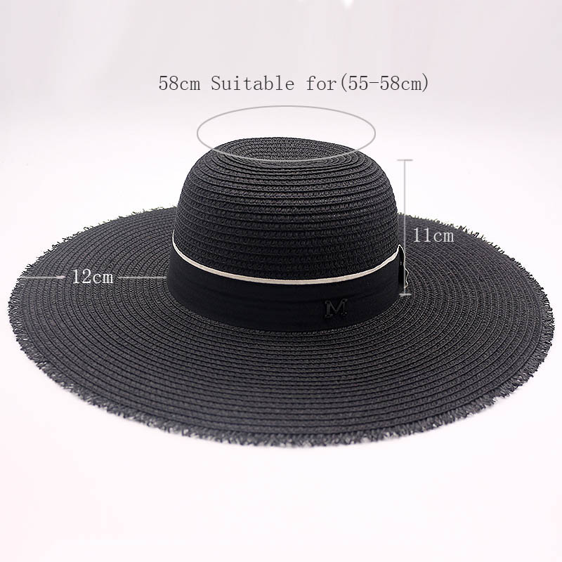 7900443687b Fibonacci Summer Female M Letter Black Sun Hat Sombrero 12cm Big Brim  Panama Beach Hats for Women Foldable Straw Hat-in Sun Hats from Women s  Clothing ...