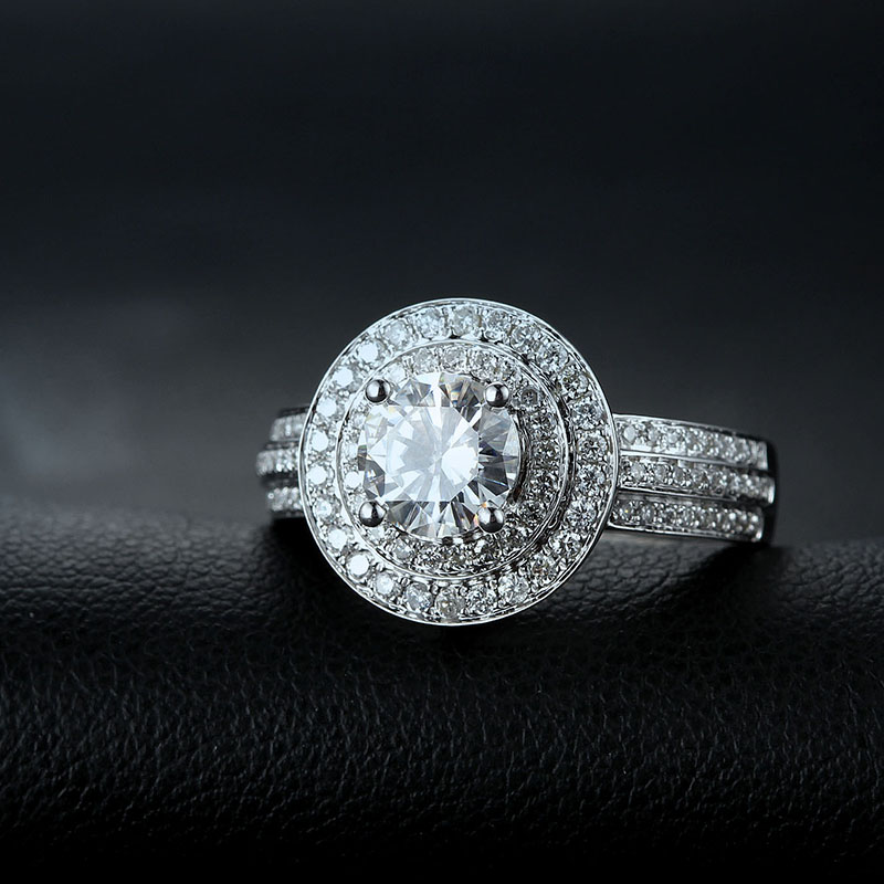 14k white gold 1ct Test Positive Moissanites For Women Lab Grown Diamond Ring