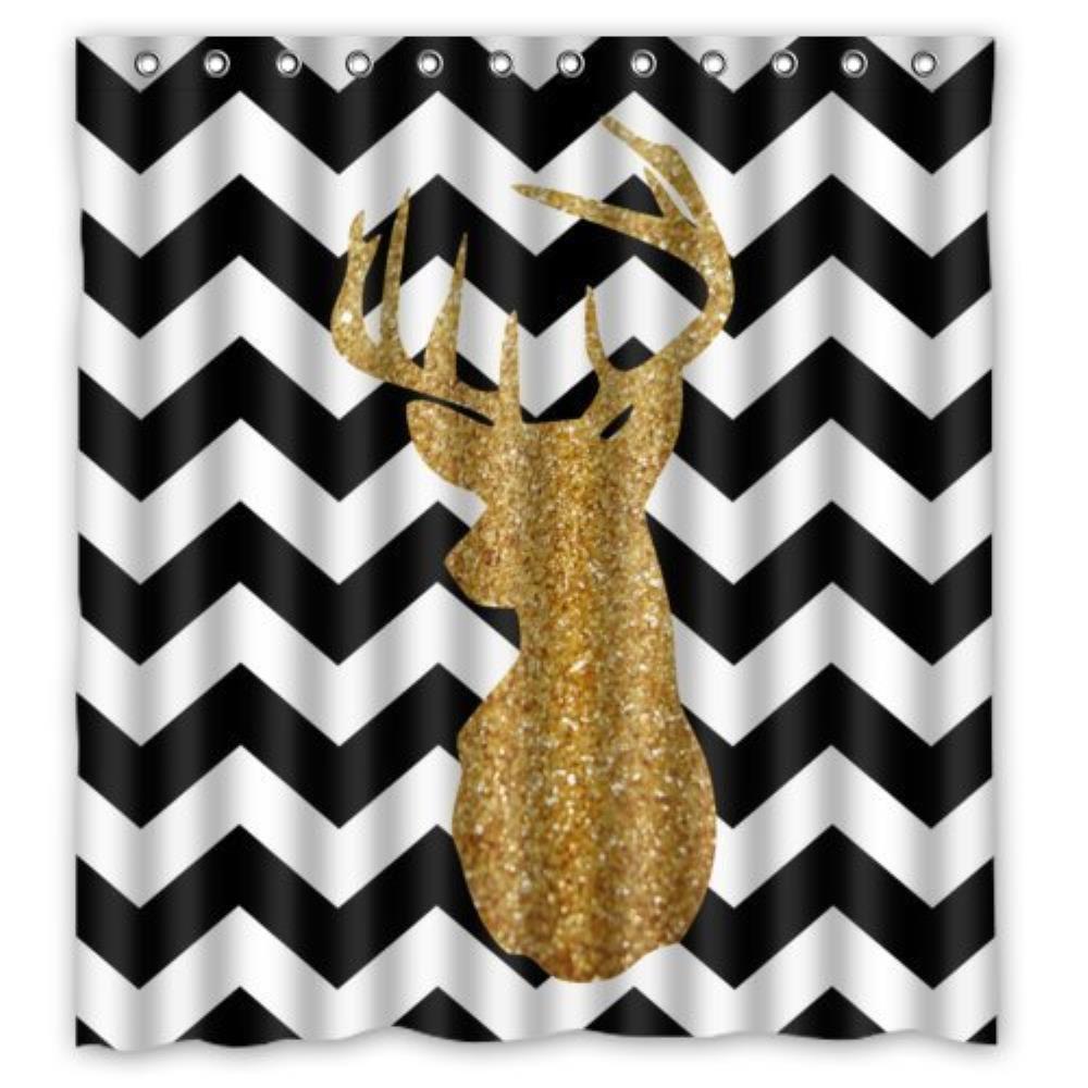 Floral Deer Head in Black Custom Bathroom Curtain Shower Waterproof Bathroom Shower Curtain Polyester Fabric 60(w)x72(h)