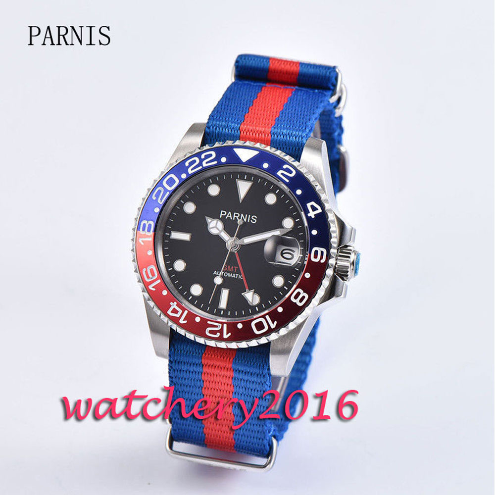 Casual 40mm Parnis black dial date adjust sapphire glass blue & red bezel Automatic movement GMT Men's Watch