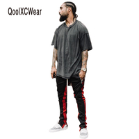 CHENXUAN 2017 NEW Zipper Pants Hiphop Fashion Jogger Urban Clothing Red Bottoms Fear Jogger Justin Bieber
