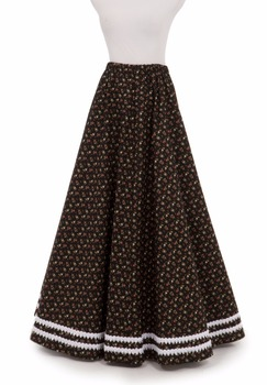 Braid Trimmed Victorian Skirt Victorian French Pleated Gathered Bustle Skirts