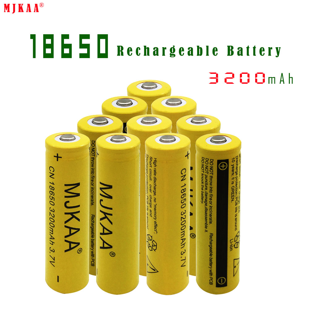 10pcs 18650 3200mah rechargeable batteries not aa battery lithium li ion battery. Black Bedroom Furniture Sets. Home Design Ideas