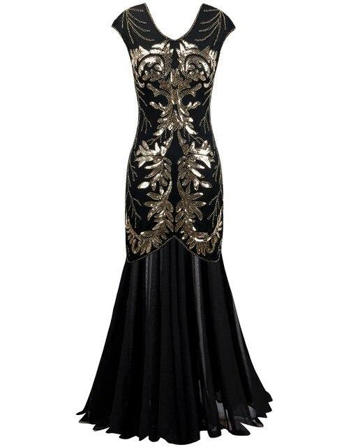PrettyGuide frauen 1920 s Pailletten Maxi Long Black Cocktail Prom Gatsby Kleid Ballkleid Partykleid in PrettyGuide frauen 1920 s Pailletten Maxi Long ...