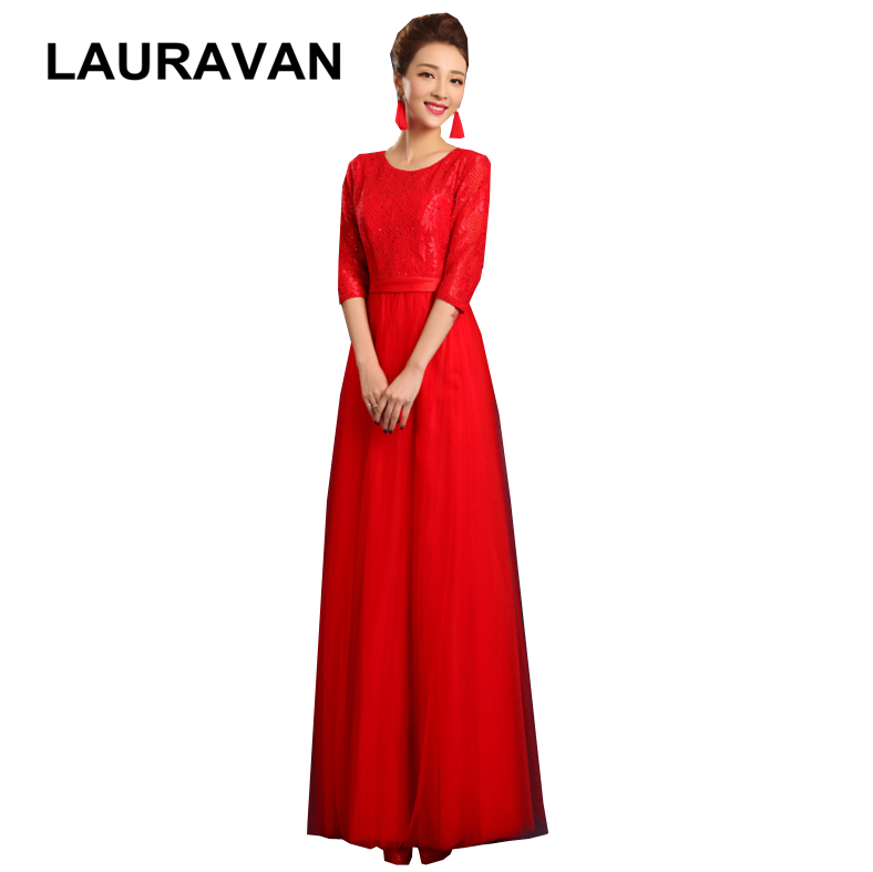 New Arrrival Burgundy Red Blue Bride Maid Modest Dresses Floor-lenth Dress With Half Sleeves For Weddings Free Shipping