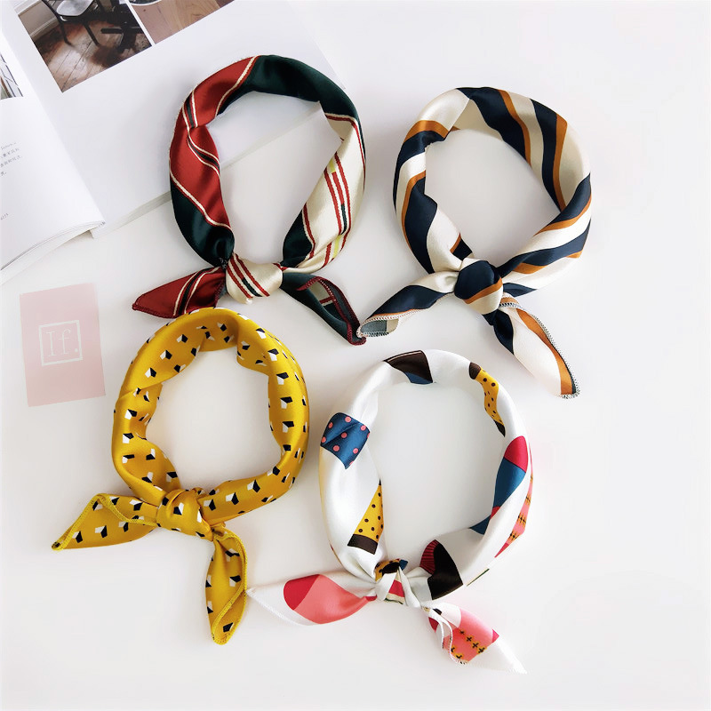Hair Tie Band For Business Party Women Elegant Square Scarf  Small Vintage Skinny Retro Head Neck Silk Satin Scarf