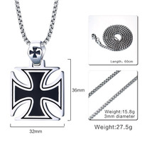 Unsex Personalized Hand Stamped Trend Of Men Jewelry Men Necklace Silver Necklace Stainless Steel Black Cross