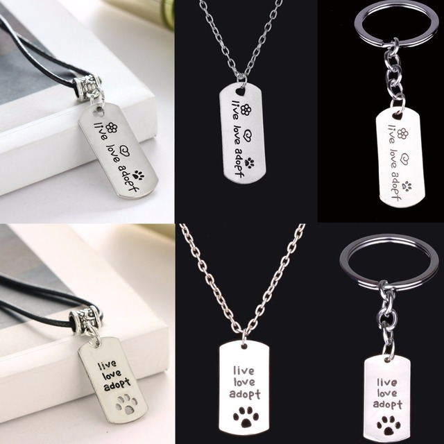 ... Live Love Adopt Dog Tag Pendant Necklace Cat Pet Lover Paw Footprint Keychains  Keyring Memorial Fashion ... 2fe3049ee