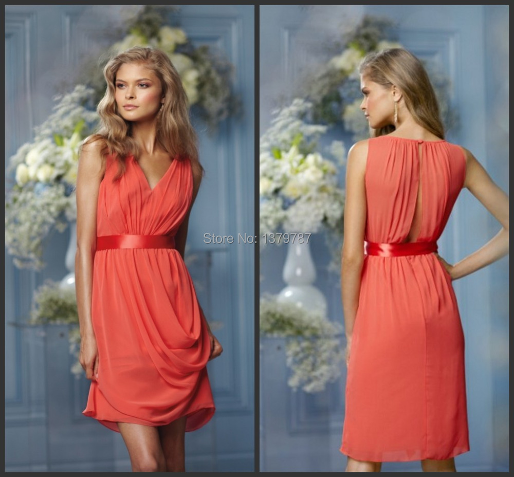 2014 cheap coral color bridesmaid dresses vestido de madrinha v 2014 cheap coral color bridesmaid dresses vestido de madrinha v neck pleated short chiffon dress to party for wedding gowns in bridesmaid dresses from ombrellifo Choice Image