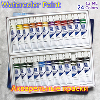 Professional Brand Watercolor Paint Paper Pigment Art Supplies Acrylic Paints Each Tube Drawing 12 ML 24