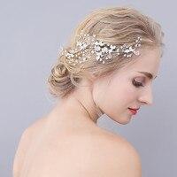 Jonnafe Mode Argent Strass De Mariée Cheveux Vigne De Mariage À La Main Peigne Fleur Femmes Bijoux Accessoires