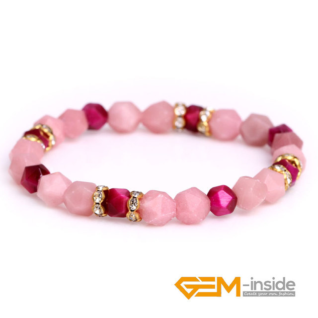 Wholesale! Natural Faceted Red Tiger Eye Black Agates White Rock Quartzs Pink Opal Gem stone Bead Elastic Bracelet Jewelry Gifts