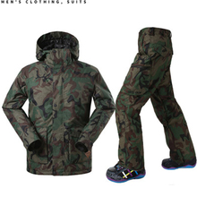 Brand Gsou Snow camouflage ski suit man ski jacket mens ski pants mens snowboarding pants design skiing hoodies men winter coat