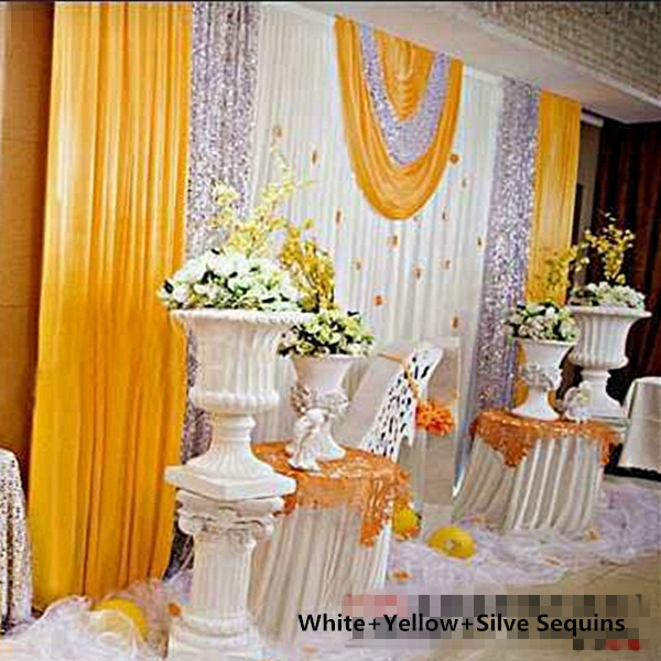 DHL Yellow 3*6m wedding backdrop curtain with shiny