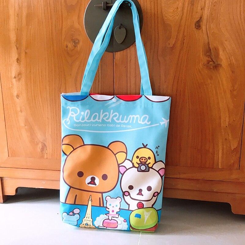 Rilakkuma Reusable Shopping Bag Anime Foldable Shoulder Bag Cartoon Cute Shopping Bag Eco Wholesale Custom Cartoon Functional Bags Shopping Bags