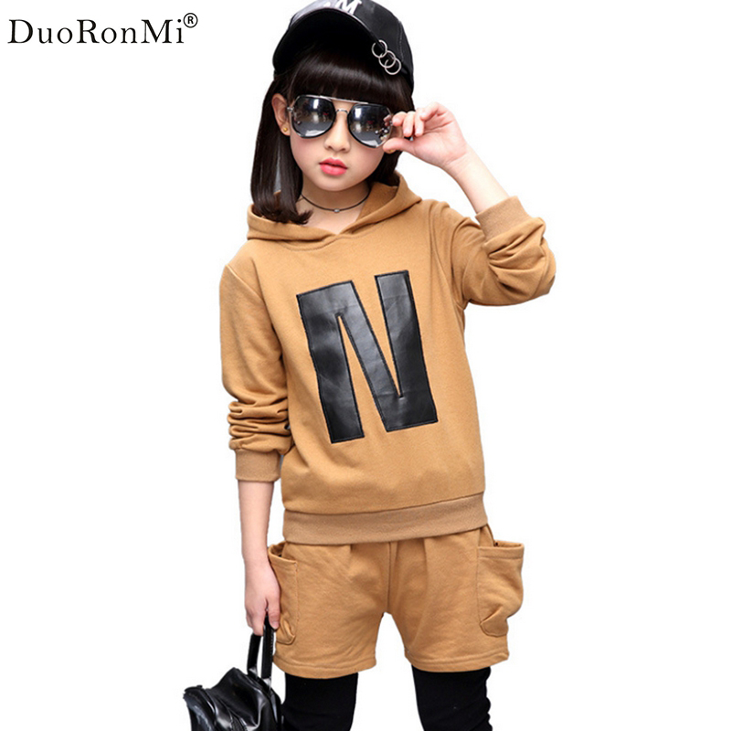 DuoRonMi 2017 Letter Print Girls Clothing Set Autumn New Kids Girls Sports Suit Long Sleeve Top Fake two Pants 2pcs Sets Childre цены онлайн