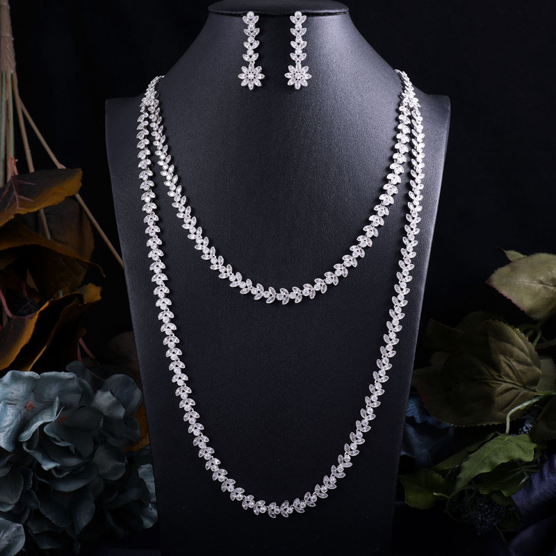 Accking Long necklace  2pcs Bridal Jewelry Sets New Fashion Dubai Full Jewelry Set For Women Wedding Party Accessories DesignAccking Long necklace  2pcs Bridal Jewelry Sets New Fashion Dubai Full Jewelry Set For Women Wedding Party Accessories Design
