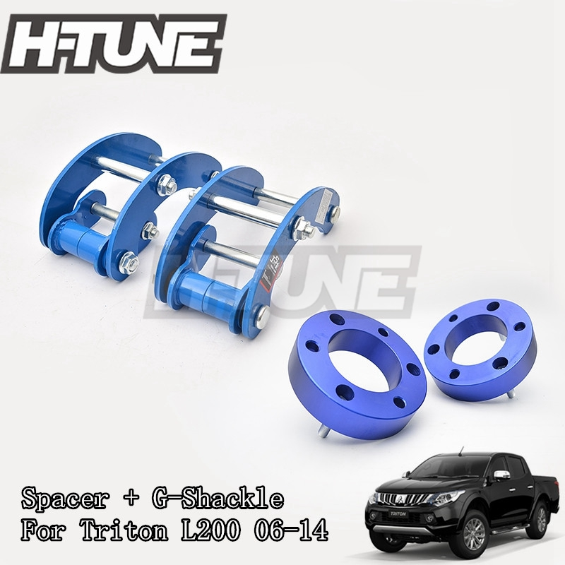 H-TUNE 4x4 Accesorios 32mm Front Spacer and Rear Extended 2 inch G-Shackles Lift Up Kits 4WD For Triton L200 MK ML 06-14 h tune 4x4 accesorios 1inch suspension lift kits front coil strut shock spacer for d max 2007 2010