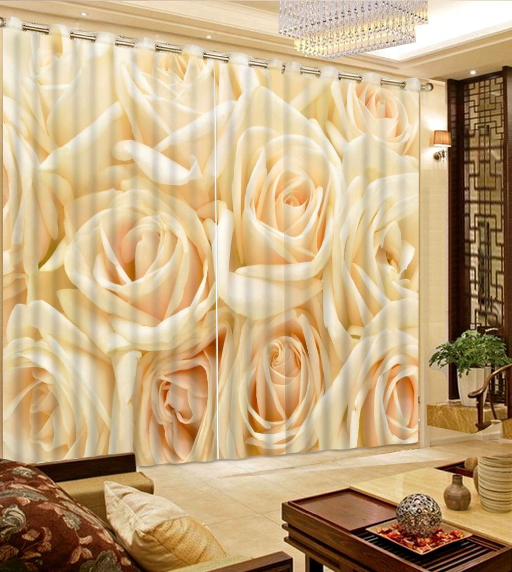 Custom 3D Blackout Yellow Rose Curtains Sheer Curtains For Living Room Bedding Room Kitchen Room Hote Office Sofa Decoration