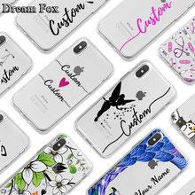 DIY Name Custom Design Print Case Cover For iPhone XR XS Max 5 5s SE 6 6s 7 8 Plus X Flower Customized Soft Silicone TPU