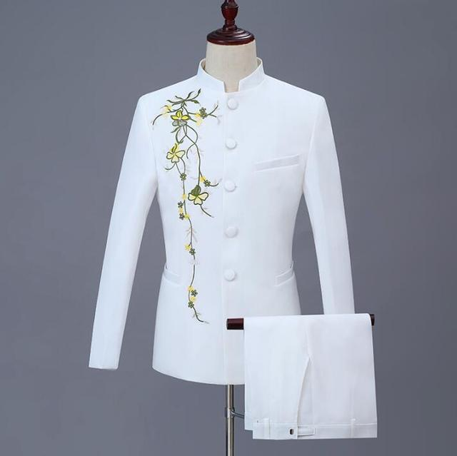 Singer stage clothing men Chinese tunic suit set with pants Ethnic mens wedding suits embroidery formal dress man stand collar Men's Fashion
