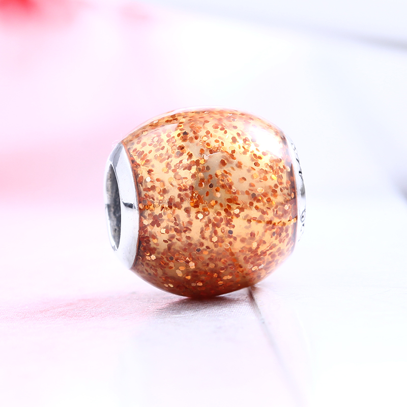 Authentic 100% 925 Sterling Silver Fit Original Pandora Bracelet Golden Glitter Ball DIY Charms Beads for Jewelry Making Gift