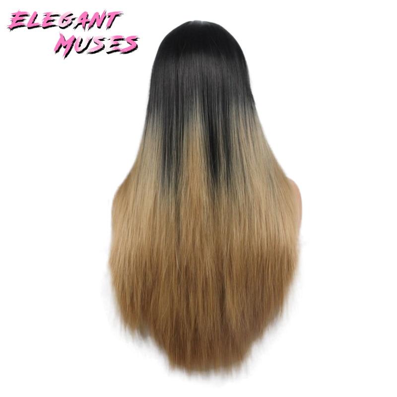 ZARIF MUSES Siyah Kadınlar Için 26 inç Ombre Gri Peruk Uzun Düz - Sentetik Saç - Fotoğraf 4