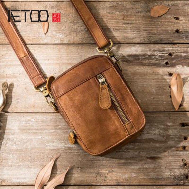 c8159b7cefb0 AETOO Повседневная сумка через плечо Спортивная кожаная карманная сумка на  плечо мини сумка мужская кожаная Маленькая