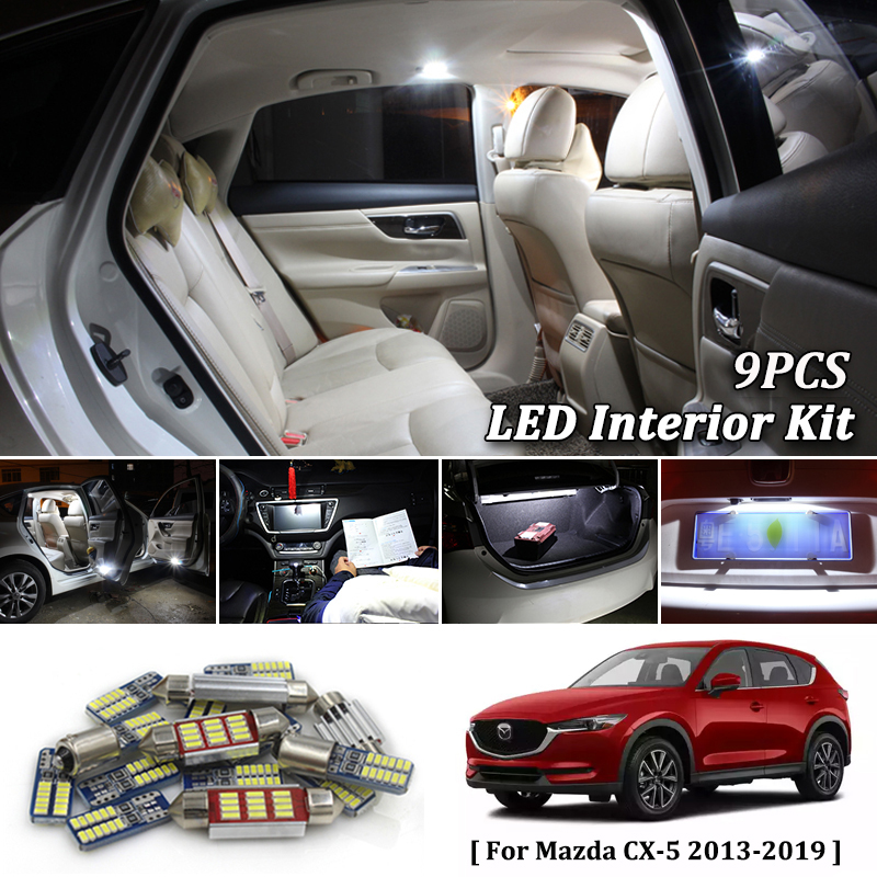 9X White Canbus led Car interior lights Package Kit for 2013 2014 <font><b>2015</b></font> <font><b>2016</b></font> 2017 2018 2019 <font><b>Mazda</b></font> CX-5 <font><b>CX5</b></font> led interior lights image