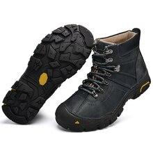 Winter Plush Warm Genuine Leather Outdoor Sport Tactical Men Hiking Shoes Waterproof Sneaker Climbing Trekking Boots