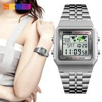SKMEI модные роскошные женские часы водонепроницаемые спортивные серебряные цифровые женские часы для женщин Montre Femme Relogio Feminino 2018 Новинка