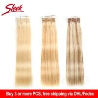 Sleek Pre colored Double Drawn Brazilian Straight Remy Human Hair Weave Bundles 113 Gram Ombre Blonde Color 613 P6/613 P27/613