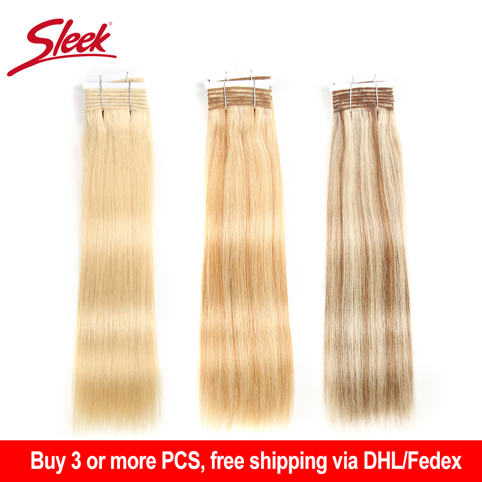 Sleek Pre-colored Double Drawn Brazilian Straight Remy Human Hair Weave Bundles 113 Gram Ombre Blonde Color 613 P6/613 P27/613