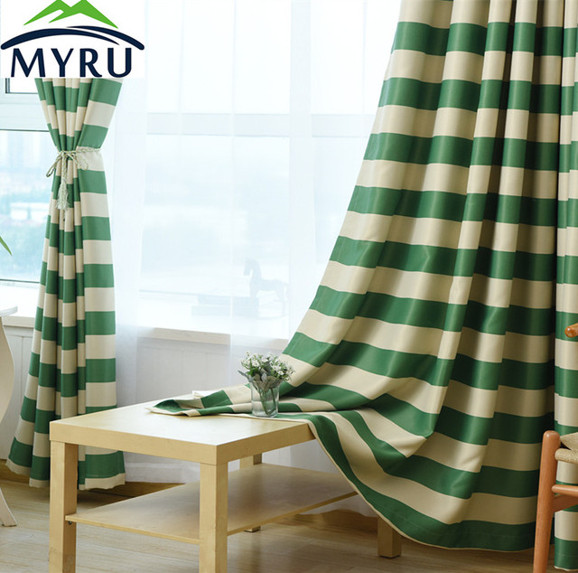 MYRU Mediterranean Style Blue Striped Cloth Curtains Green For Bedroom And Living Room Free