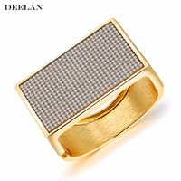 2017 New Open Cuff Gold Color Bracelets Bangles Fashion Jewelry Love Gifts Wide Paved Crystal Bracelets