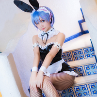 Anime Re:Zero Starting Life in Another World Rem Cosplay Bunny Girl Rabbitgirl Costume Maid Dress Full Set