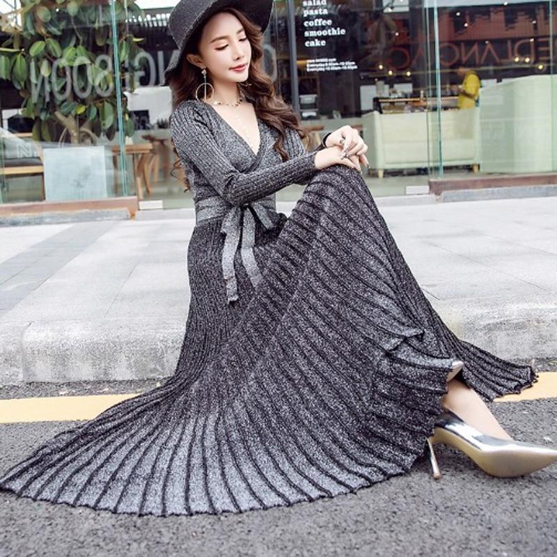 Hiver femme robe 2019 chaud sexy slim robe de soirée à manches longues col en v robe en tricot grande balançoire plissée ceinture longue robe femmes - 2