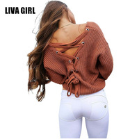 Sexy Backless Lace Up Knitting Pullover Casual Autumn Winter Sweater Women Tops Fashion Hollow Out Jumper